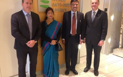 Shri Rajiv Yadav, Secretary (Sports) & CEO, NDTL and Dr. Alka Beotra, SD, NDTL visited WADA Head Office in Montreal for a meeting with Dr. Olivier Rabin, Sr. Director Science, WADA and Mr. Rob Koehler, Dy. Director General, WADA on May 05, 2016.